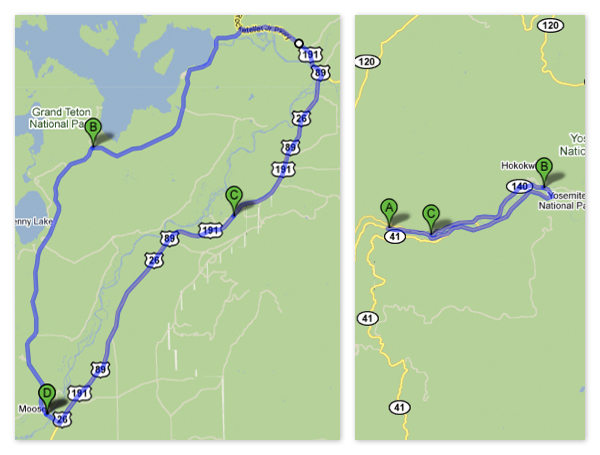 Yosemite vs. Grand Tetons Loops (Google Maps)